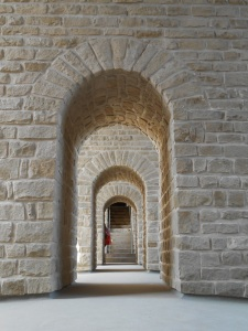 A series of stone archways in Luxembourg City, Luxembourg
